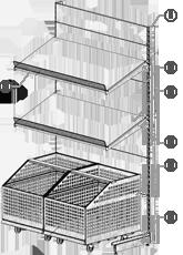Конструкция торгового стеллажа с выкатными корзинами